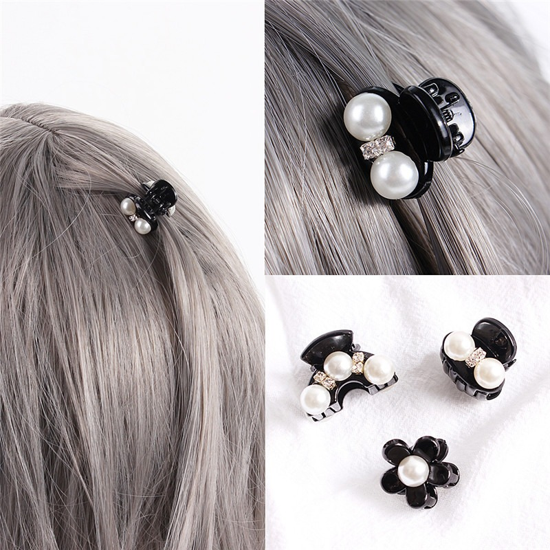 2020 new Pearl Crystal Rhinestone Hair Claw Clip For Women Accessories Black Crab Hairpins Clamp Plastic Lady Headwear