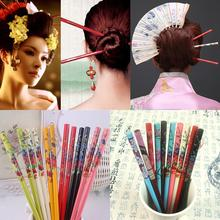 Hair-Stick Painting Bride Floral Vintage Women Wood for 2pcs Handmade Colorful