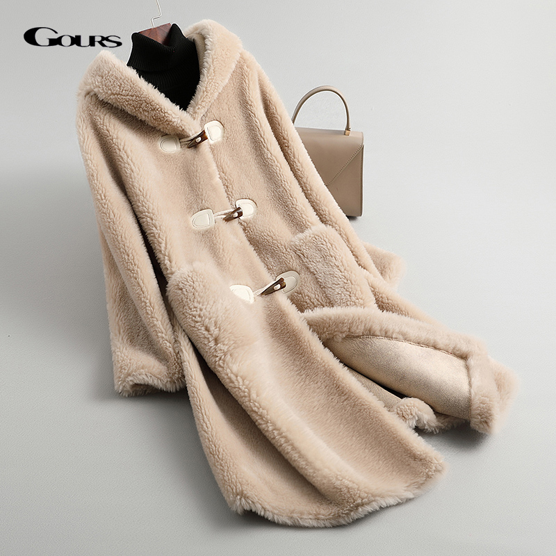 GOURS Winter Women Real Fur Coats And Jackets Natural Wool Long Clothes With Hood Thick Warm Full Sleeve New Parke LD913