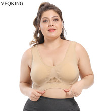VEQKING S-6XL Breathable Sports Bras for Women,Padded Wireless Hollow Out Yoga Bra,Plus Size Women Running Fitness Sports Bra