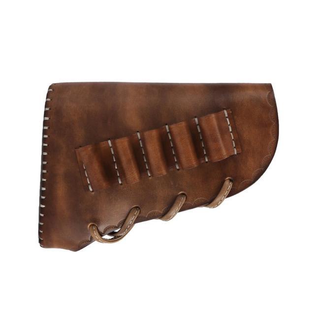 Tourbon Hunting Gun Butt Stock Cheek Rest Genuine Leather 12 Gauge Ammo Shells Sleeve Cartridges Holder Shooting Gun Accessory 3