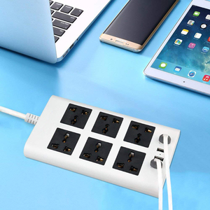 Image 5 - Power Strip Flat 6 Port Universal Sockets EU/UK/US Plug with 4 USB Charger Port 2500W Surge Protections  Circuit Breaker