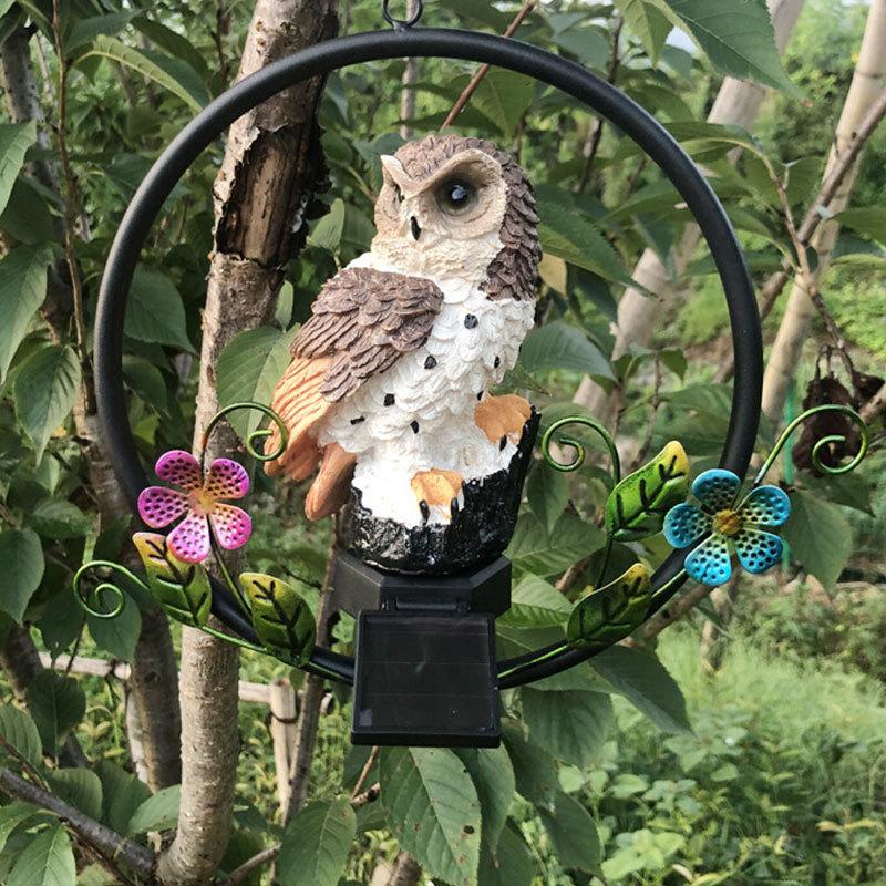 LED Garden Lights Solar Night Lights Owl Shape Hanging Lamp Decoration