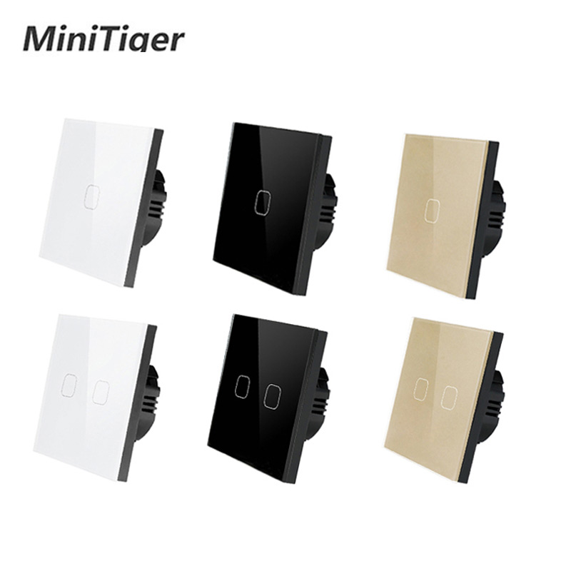 TLINK EU/UK Standard 1 Gang 1 Way Only Touch Function Touch Switch White Crystal Glass Panel Touch Switch Light Wall