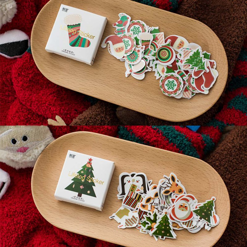 50 Pcs/bag Cute Christmas Theme Adhesive Paper Sticker Christmas Tree Decoration DIY Card Scrapbooking Stationery Paper Stickers