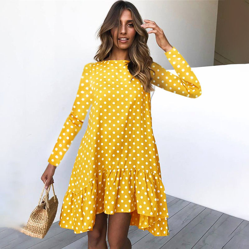 Spring Fashion Polka Dot Dress Women Long Sleeve Ruffle Ladies Casual Dresses 2020 Yellow Losse Dress For Women Clothes Blue