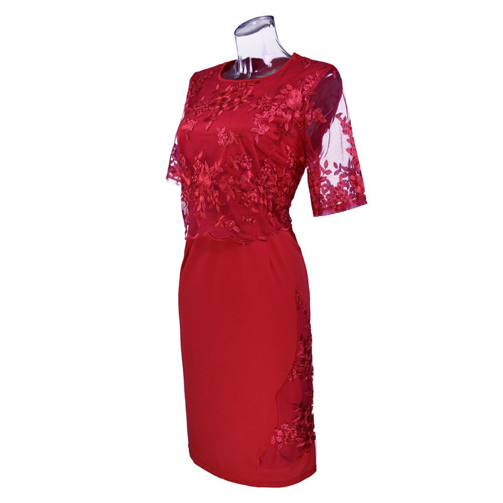 Lace-Plus-Size-Mother-Of-The-Bride-Dresses-2019-Scoop-Neck-Hal-Sleeve-Patchwork-Wedding-Guest (2)