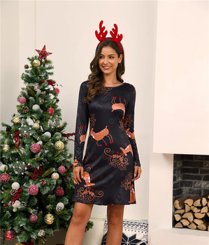Sweet Cute Cartoon Deer Print Women Dress 2020 New Christmas Party Dress Casual Long Sleeve Loose A-Line Dresses Female Vestidos