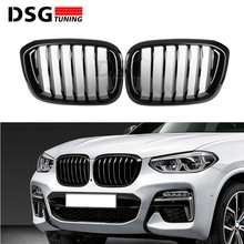 Ön böbrek ızgara BMW G01 G02 tampon yarış ızgarası X3 X4 ABS parlak siyah/mat siyah oto Styling xDrive20i xDrive30i 2018 +