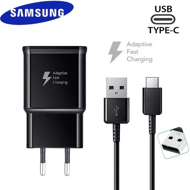 Адаптер для быстрой зарядки Samsung S10, S8, S9 Plus, дорожный адаптер, кабель Type-C 120 см для быстрой зарядки 9 В, 1,67 А, для Samsung Note 10, 9, 8, A50, A70