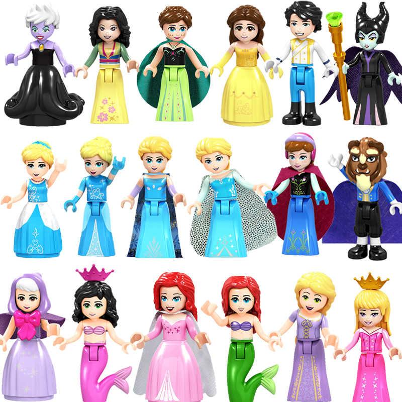 Klocki księżniczka dziewczyna kopciuszek syrenka superman Batman zielony Goblin intelektualny dzieci budynku zabawki z klocków 26