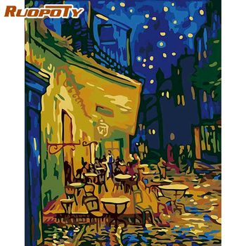 RUOPOTY 60x75cm Frame DIY Painting By Numbers For Adults Wall Art Picture Modern Famous Picture Coffee House Diy Gift Artwork