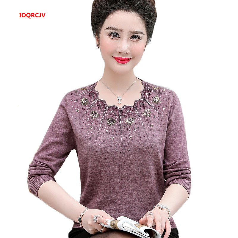 High Quality Cashmere Knitted Sweater Women Tops Autumn  Plus Size 4XL Middle Aged Women's Pullover Female Wool Sweater W1170