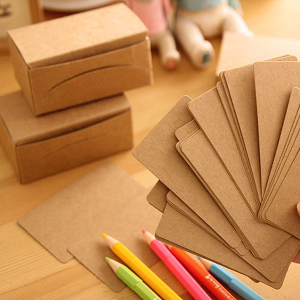 FangNymph 80PCS Kraft Paper Library School Office Message Word Card For Study/Business/Daily Schedule