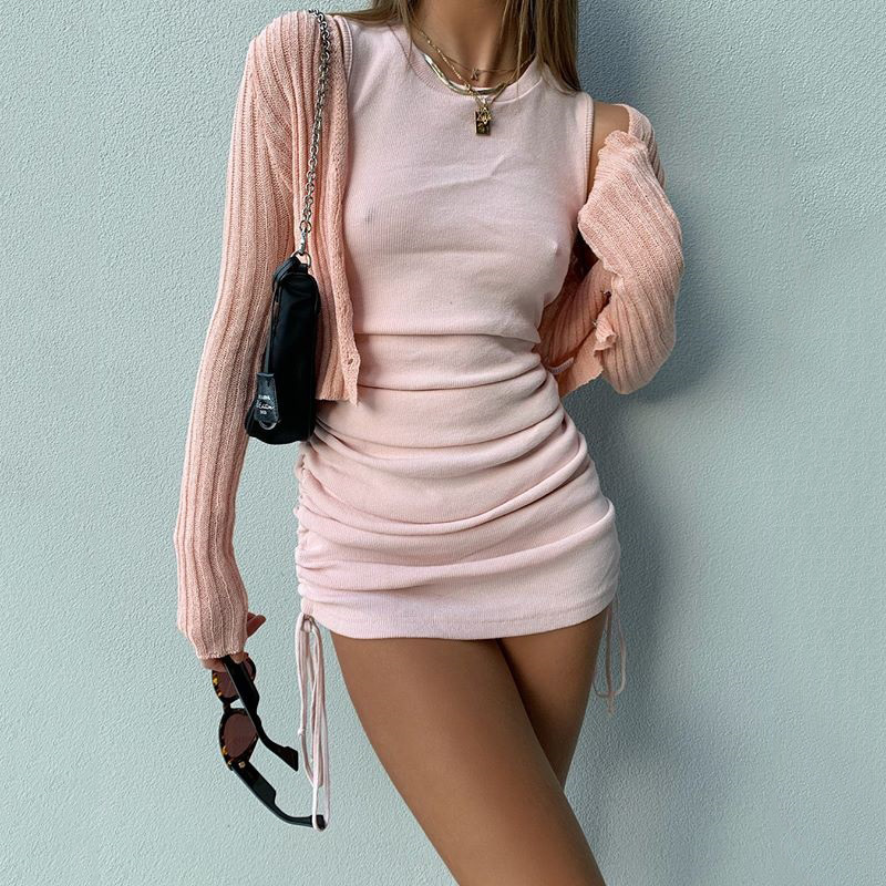 Cotton Ruched Drawstring Sexy Party Dress Women Sleeveless Elastic Mini Dress Vintage Summer Bodycon Club Wear Vestidos 20