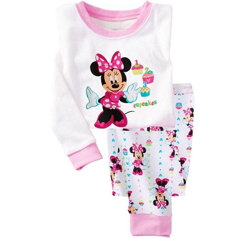 Minnie Cartoon Baby Girl Clothing Sets Cute Printing Long Sleeve T Shirt + Casual Pant 2PCS Pajama Sets Kids Girl Sleepwear