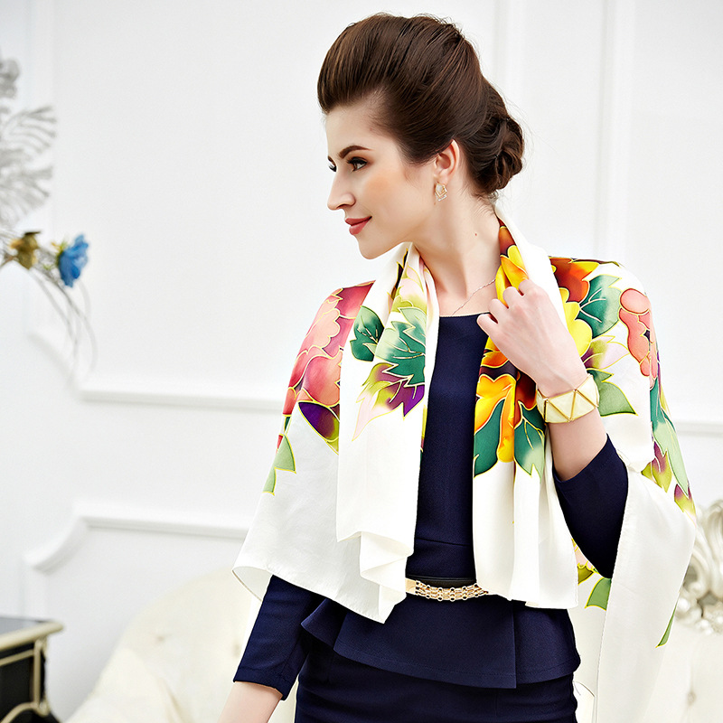 """New gift silk hand-painted scarf """"white peony"""" women's heavy weight mulberry silk scarf/shawl/large square"""