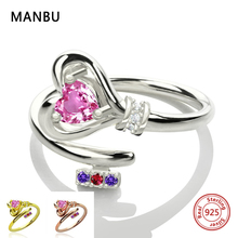 MANBU Personalized 925 sterling silver heart with birthstone rings custom for women engagement gifts free shipping