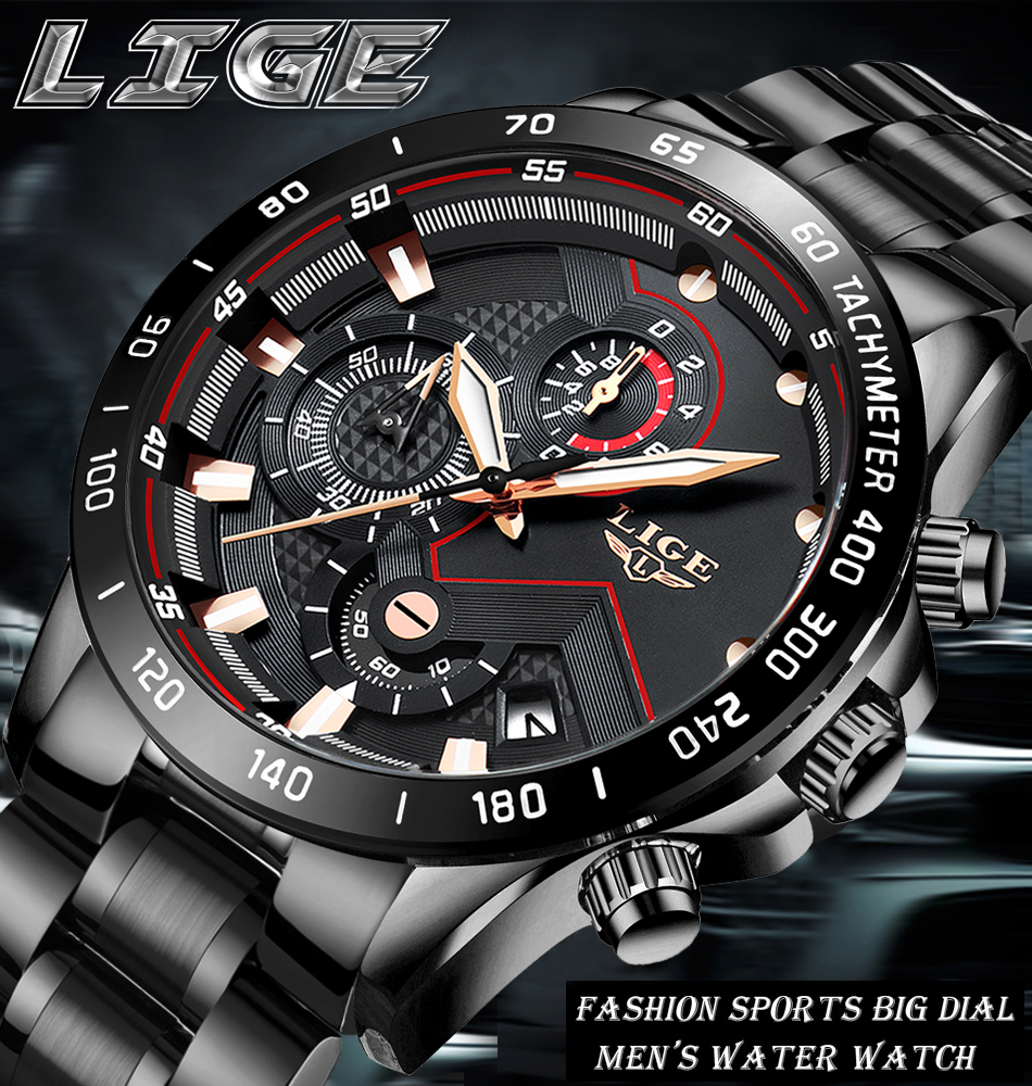 H0774473eca1b49a484dd0f66263150caz Relogio Masculino LIGE Chronograph Mens Watches Stainless Steel Waterproof Date Quartz Watch Men Business Classic Male Clock+box