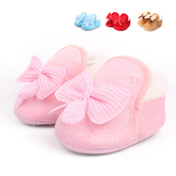 Winter Warm Baby Cotton Shoes And Boots Thickened Warm Soft Soled Walking Shoes Bow Factory Wholesale Free Shipping