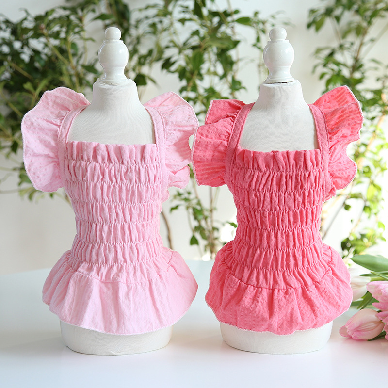 Solid Princess Dog Cat Dress Skirt Pet Puppy Shirt Spring/Summer Clothes Outfit 5 Sizes 2 Colours