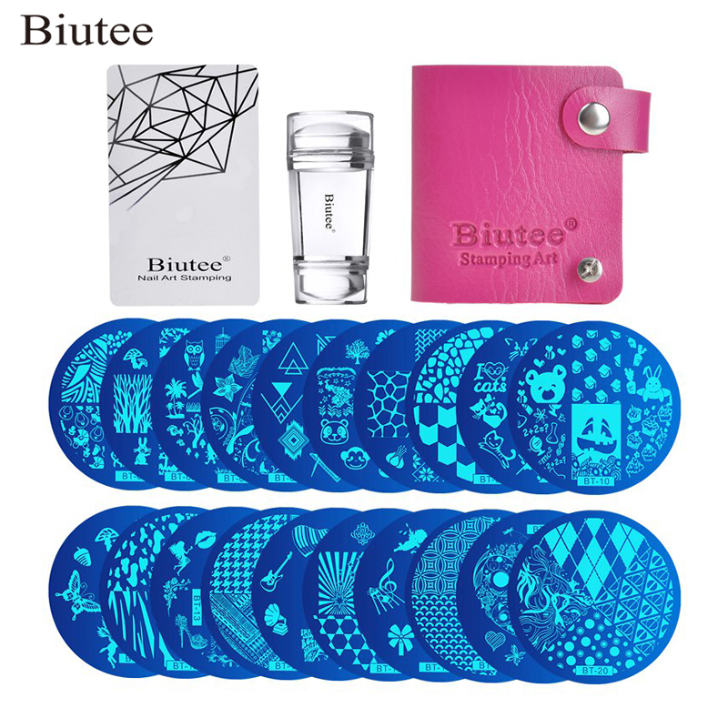 Biutee 30pcs/Set Nail Art Stamping Plates Set Geometric Flowers Multi-pattern Nail Plates Stamp Art Decoration Nail Accessories