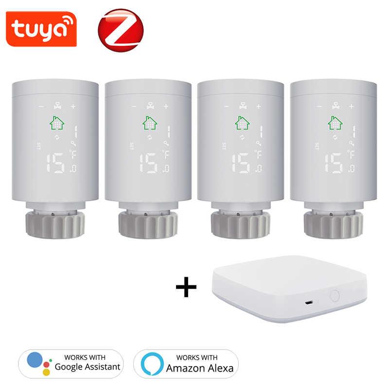 Tuya ZigBee WiFi Programmable Radiator Valve Actuator Thermostat Voice Control
