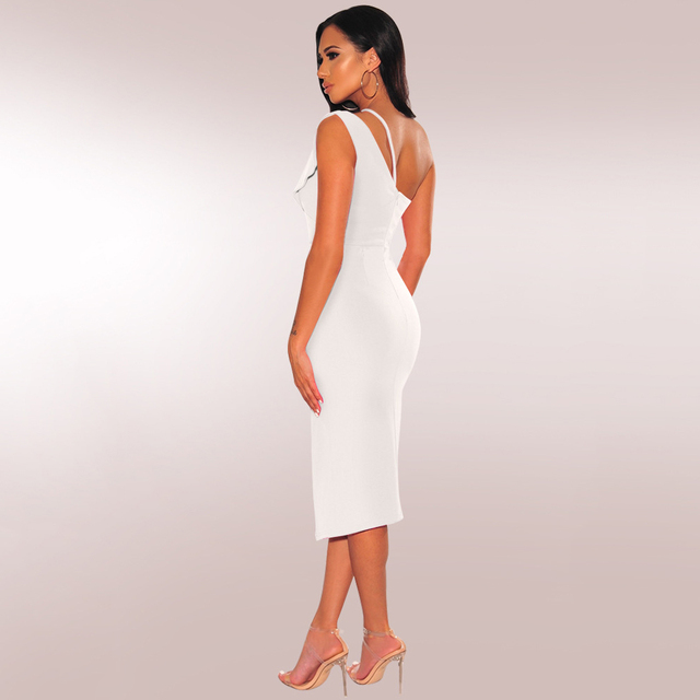 Women Sexy One Shoulder Hollow Out High Split Midi Dress Elegant Solid Color Backless Bodycon Formal Dresses Night Club Vestidos