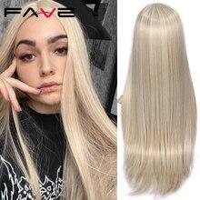 FAVE długie proste czyste jasnobrązowe blond długie peruki syntetyczne dla białych/czarnych kobiet 22 Cal środkowa część może być Cosplay peruki
