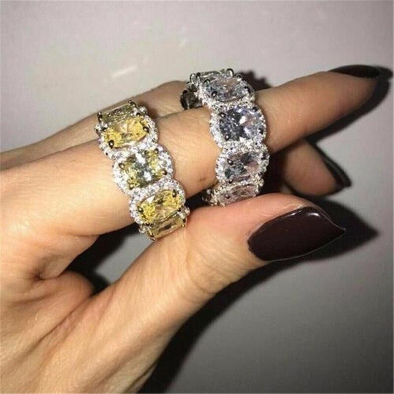 Bague cz de laboratoire de topaze éternelle, bague de mariage en argent sterling 925, bijoux de mariage, bijoux de fête, cadeau