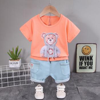 Nowe letnie chłopięce modne koreańskie ubrania zestawy małe dziewczynki lalka niedźwiedź T-Shirt + spodenki jeansowe strój dziecięcy ubranka chłopięce dla niemowląt tanie i dobre opinie OOPSMILE Na co dzień CN (pochodzenie) Z okrągłym kołnierzykiem Pulower KYP1002 COTTON spandex Unisex krótkie REGULAR