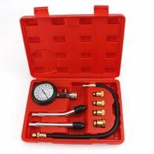 Verificador de compressão do motor a gasolina auto cilindro motor a gás automóvel medidor pressão tester com m10 m12 m14 m18 adaptador