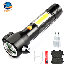 ZHIYU Glare Aluminum Flashlight with Side Light USB Charging with Safety Hammer Magnet Outdoor LED Torch for Camping, Emergency