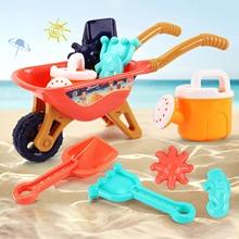6 шт. Лето пляж игрушка песок набор песок игра песочница игрушки сейф дети песок набор ведро тележка лопата песок игра песочница игрушки