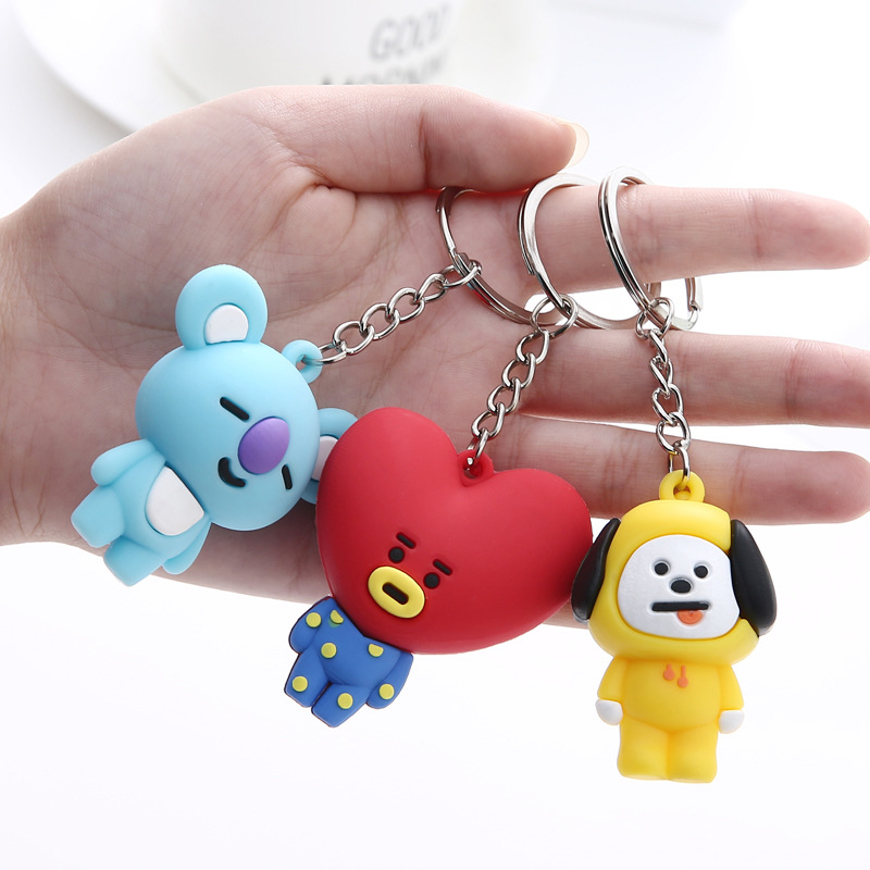 Kpop Keychain Bangtan Boys Keychain Key Chain Ring Pendant Jewelry Accessories Korean Cartoon Animals Rabbit Keychain Fans Gift