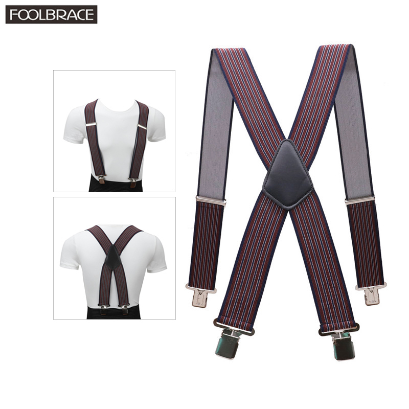 130cm Extra Long Suspenders  Plus Size Men Pants X Back  Strong Clips 5cm Width Braces With X-back Trousers Man Braces Strap