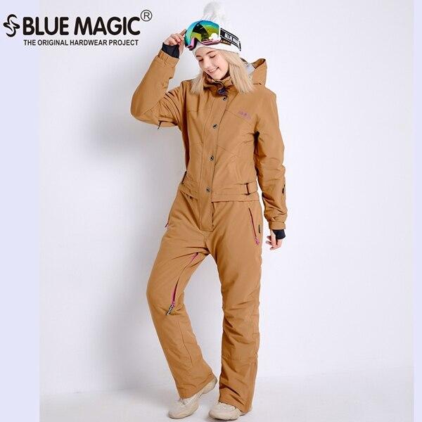 Синий волшебный зимний сноуборд kombez лыжная куртка и брюки лыжные костюмы женский комбинезон женский сноуборд водонепроницаемый комбинезон Россия - Цвет: NEW BEIGE