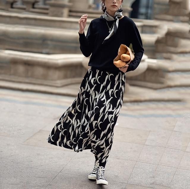 [EAM] Chiffon Pattern Print Black Long High Elastic Waist Half-body Skirt Women Fashion Tide New Spring Autumn 2021 1DD4782 3