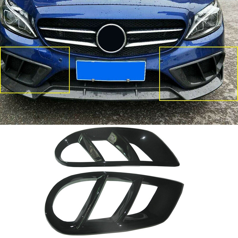 Black Front <font><b>Bumper</b></font> Grill Fog Light Cover Trim for <font><b>Benz</b></font> <font><b>W205</b></font> C43 AMG Sport 2015-18 image