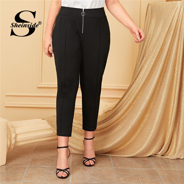 Sheinside Plus Size Black Front O-ring Zip Up Pants Women 2019 Autumn High Waist Crop Trousers Ladies Solid Skinny Pants