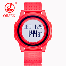 OHSEN Mens Digital Watch LED Display Waterproof Male Wristwatches Water Resistant Fashion Alarm Sports Watches Relogio Masculino cheap Plastic 25cm 5Bar Buckle ROUND 23mm 10mm Resin Stop Watch Back Light Shock Resistant Repeater luminous Auto Date Multiple Time Zone