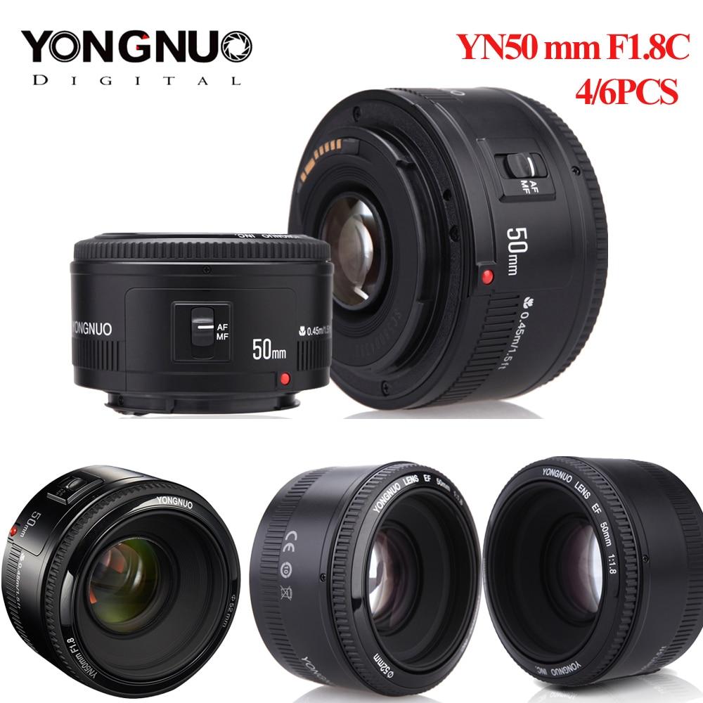 4pcs/6pcs YONGNUO Lens YN50mm f1.8 YN EF 50mm YN50 Aperture AF Lens for Canon EOS 60D 70D 5D2 5D3 600d Camera DropshippingCamera Lens   -