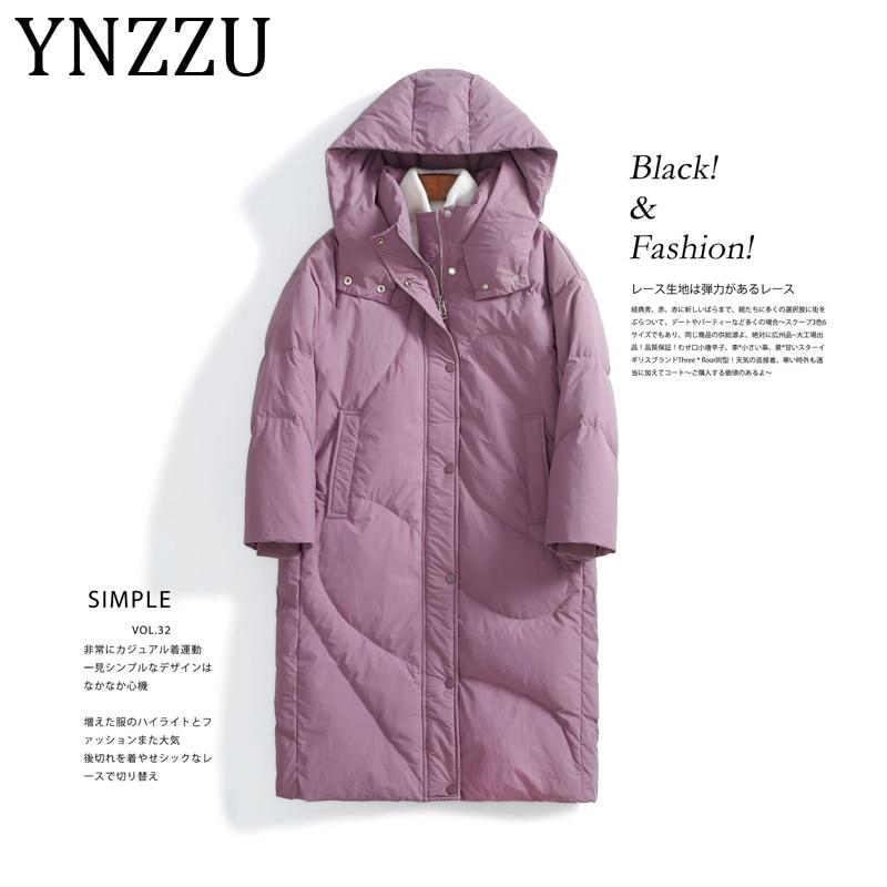 YNZZU 2019 New Winter Collection Women's Down Jacket Elegant 90% White Duck Down Coat Female Warm Hooded Loose Outwear A1177