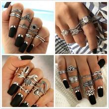 1 Juego de anillos de nudillos Vintage brillantes de noche estrellada anillo de cristal flor geométrica para mujer conjunto de regalos de joyería Bohemia 25 Set