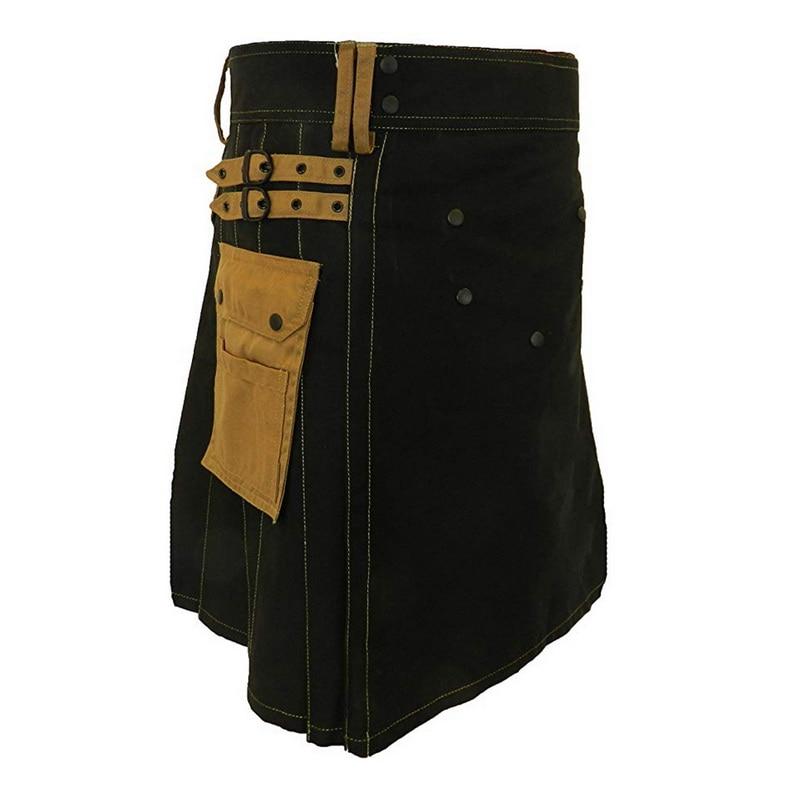 CYSINCOS Brown Gothic Punk Scottish Kilt Costume Pocket Men Skirts Belt Lattice Plait Skirts Bilateral Pocket Chain Skirts
