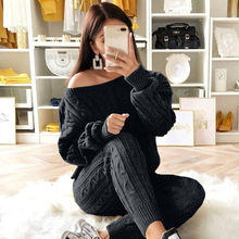 sweater skirt set women Ladies Solid Round Neck Cable Knitted Warm 2PC Loungewear Suit Set ropa mujer invierno 2019 #y15(China)