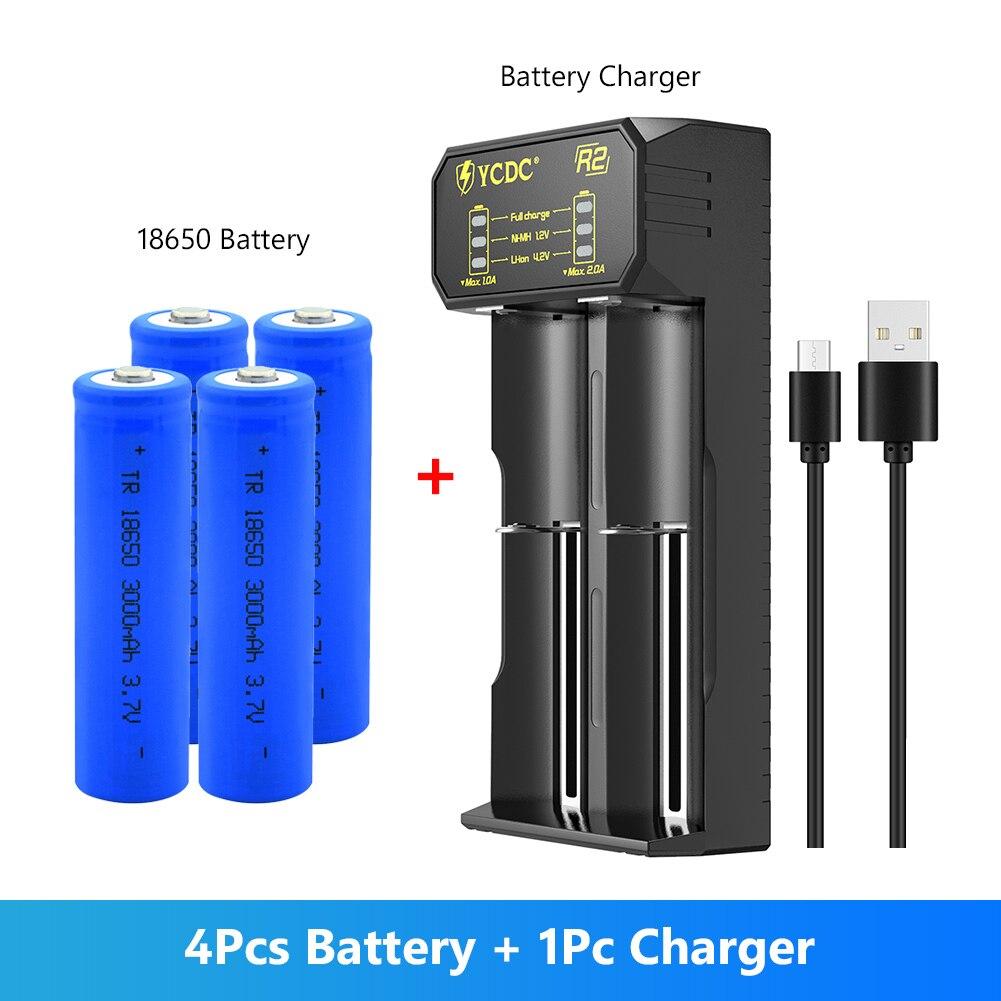 4 szt. Nowa bateria litowo-jonowa 18650 akumulator 3000mah 3.7V do latarki LED bateria do latarki z ładowarką