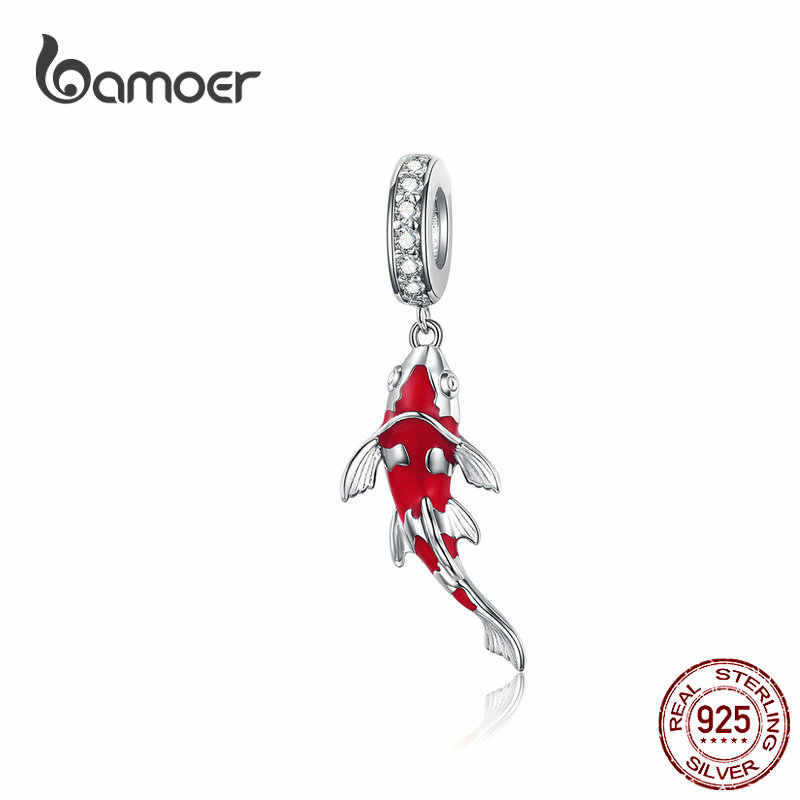 BAMOER אמייל דגי תליון 925 כסף סטרלינג להתנדנד קסם Fit צמיד שרשרת נשים תכשיטים BSC085