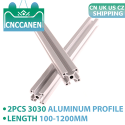 2PCS 3030 Aluminum Profile Extrusion 100mm - 1200mm European Standard Linear Rail Aluminum Profile 3030 Extrusion CNC 3D Printer