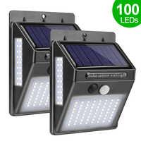 100 LED lumière solaire jardin lampe solaire PIR capteur de mouvement solaire alimenté par la lumière du soleil imperméable pour la décoration extérieure de rue de mur